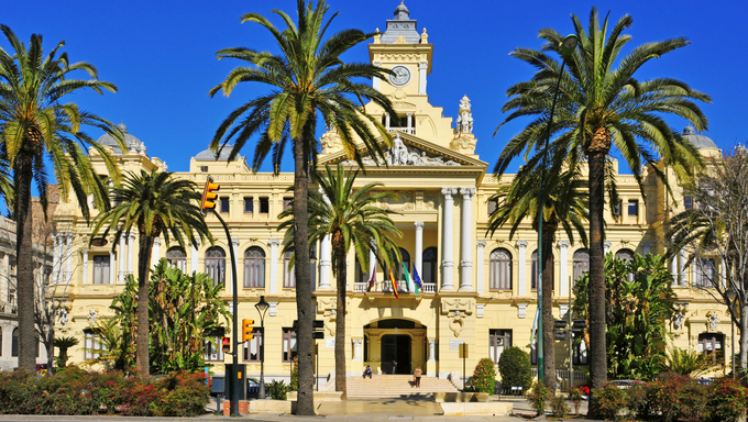 MALAGA, SPAIN - MARCH 13: Facade of City Council on March 13, 2012 in Malaga, Spain. This building, built on 1919, is listed since 2010 as part of Heritage of Cultural Interest in Spain