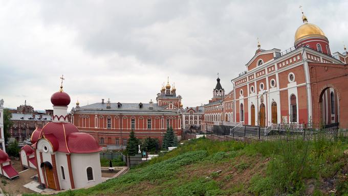 Iversky monastery in Samara, Russia. Fisheye.
