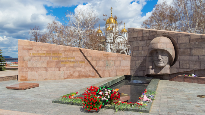 SAMARA, RUSSIA - APRIL 26, 2015: The eternal flame in the memorial complex. The eternal flame was lit September 5, 1971