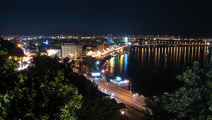 The Kiev skyline at night.