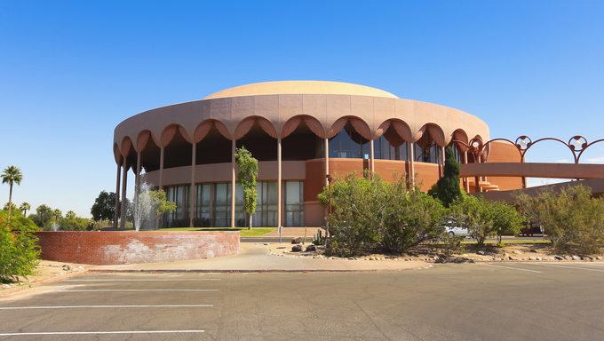 The Grady Gammage Memorial Auditorium in Temp, Arizona. Grady Gammage Memorial Auditorium is the last public commission of architect Frank Lloyd Wright.