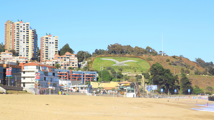 Viña del Mar and Reñaca, Chile, Latin America. This is a beach  view.