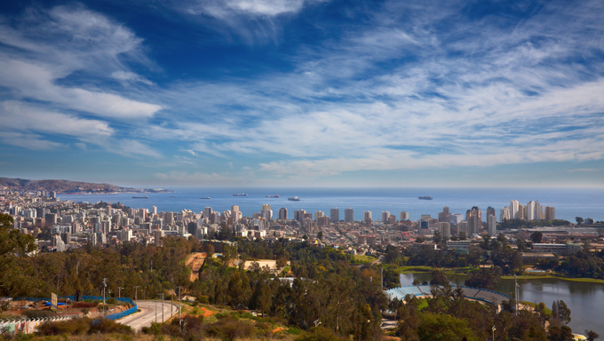 View on Vina del Mar and Valparaiso, Chile.