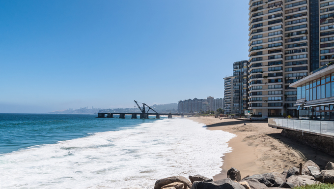 View on the beach of Vina del Mar in Chile.