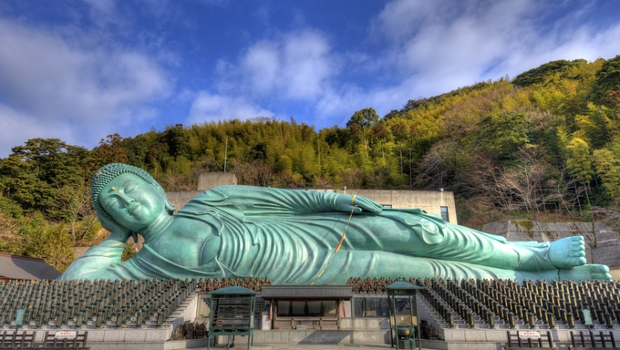FUKUOKA - FEBRUARY 9: The Reclining Buddha of Nanzoin Temple February 9, 2013 in Fukuoka, JP. The temple was moved to the spot in 1899 from Wakayama Prefecture.