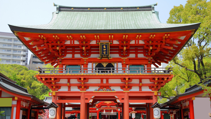 Kobe, Japan - city in the region of Kansai in Hyogo prefecture. Famous gate to Ikuta Shrine.
