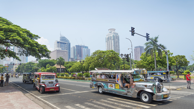 jeepneys in rizal park of manila philippines