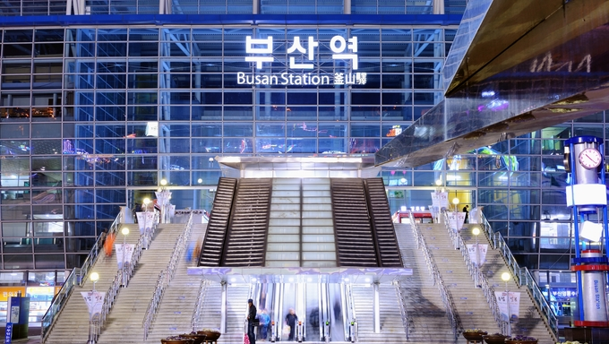 Commuters at Busan Station. The station was completed in 2003 and connects to Seoul in just under three hours.