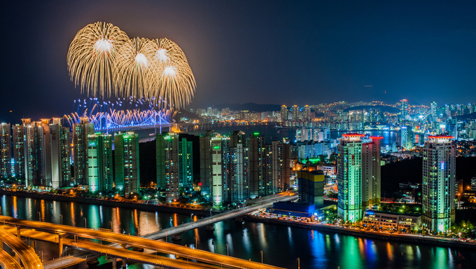 A fireworks display over Busan.