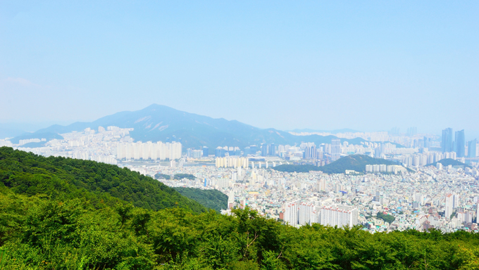 A pano over Busan city from Mount Geumnyeonsan in the morning.