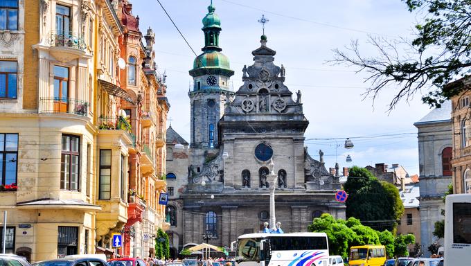The street of the old European city of Lviv in Ukraine.