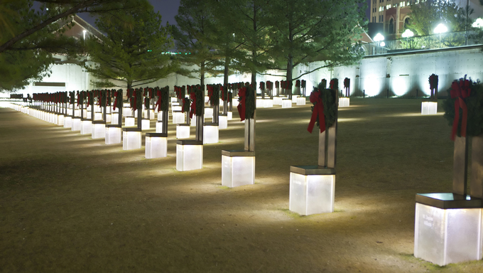 The Oklahoma City Bombing Memorial in Oklahoma City.