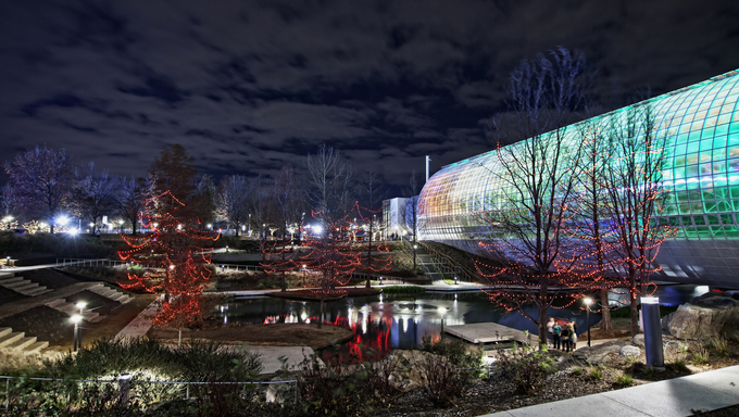 A park and botanical gardens in Oklahoma City at night.