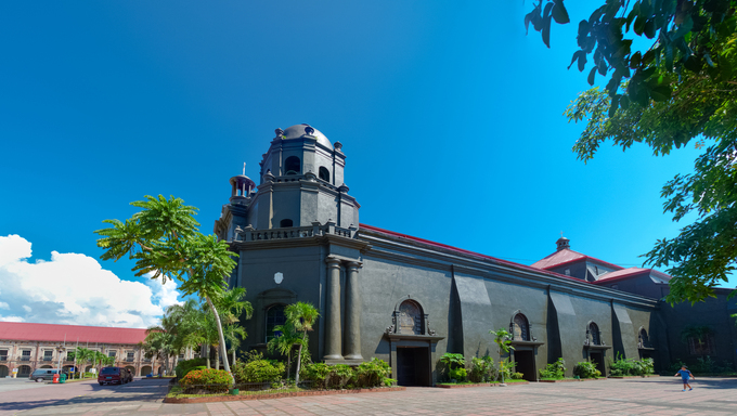 Naga Metropolitan Cathedral, the oldest cathedral in the whole southern Luzon. It was built in 1573, and was inaugurated in 1575. It is originally known as the St. John the Evangelist Cathedral.