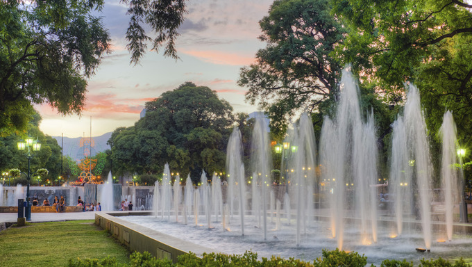 Independence Square (Plaza Independencia), the biggest and most important square in Mendoza city, Argentina
