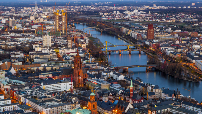 FRANKFURT, GERMANY - MARCH 25, 2012: aerial in the evening with river Main in Frankfurt,  Germany. Frankfurt is the largest city in the German state of Hesse and the financial  centre of Germany.
