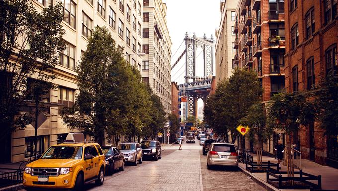 Manhattan bridge. View from Washington street, Brooklyn,  New york.