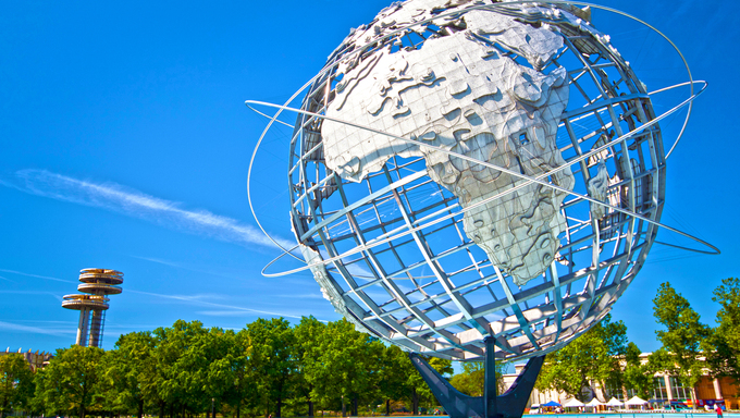 The iconic Unisphere in Flushing Meadows at Corona Park in Queens, New York.