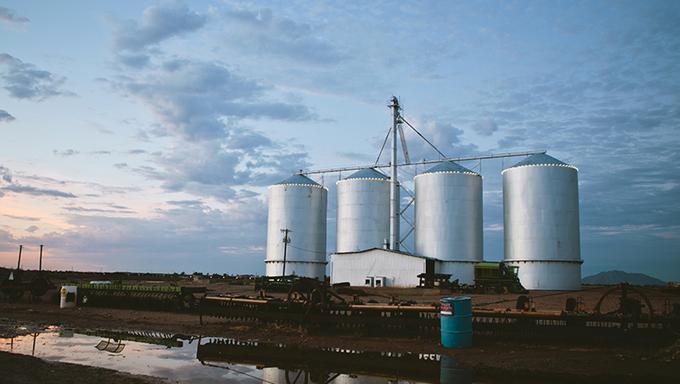 Some farm silos in Gilbert.