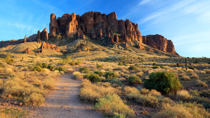 A view of the Superstition Mountains.