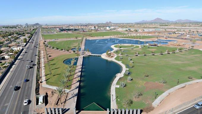 A view of Riverview Park, a popular park in Mesa located next to the Chicago Cubs training complex.