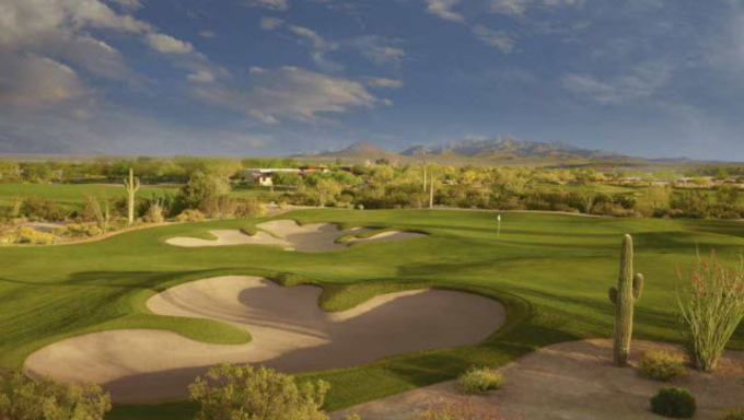 An Arizona golf course located in Mesa, a popular attraction in the winter.