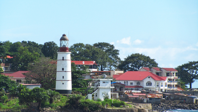 A Lighthouse and coastal features.