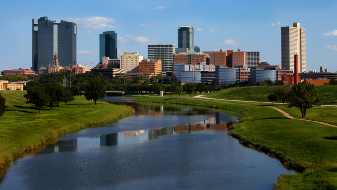 Skyline view of the main buildings and downtown of Fort Worth. This overlooks Trinity River.