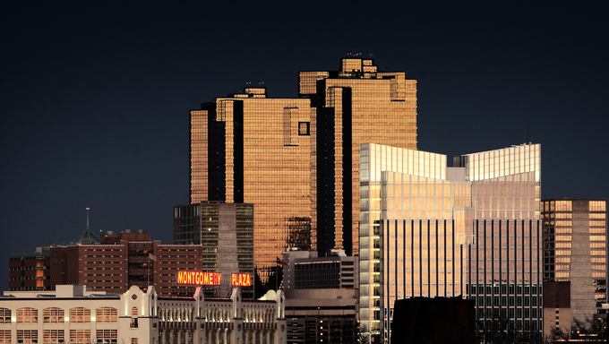Amazing shot of the buildings at sunset in Fort Worth.