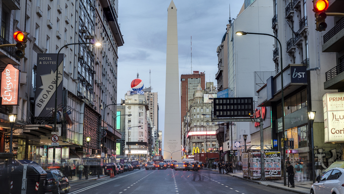 BUENOS AIRES, ARGENTINA - APR 09: The Obelisk (El Obelisco), the most recognized landmark in the capital on Apr 09, 2013 in Buenos Aires, Argentina.