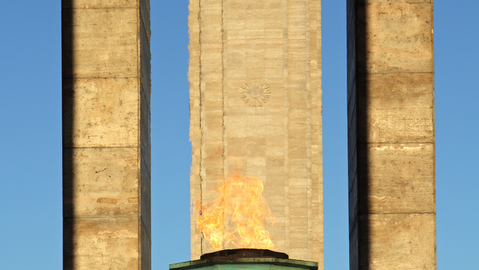 Burning flame at the historic flag monument in the city of Rosario, Argentina, South America
