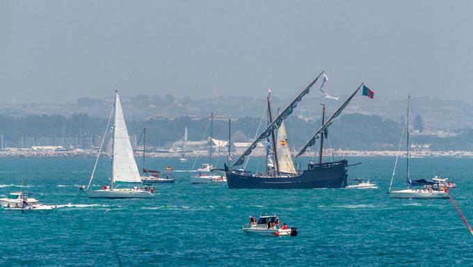 CADIZ, SPAIN - JUL 29: Portuguese caravel, Veracruz setting sail on the Tall ship races 2012 on July 29 , 2012, in Cadiz , Spain