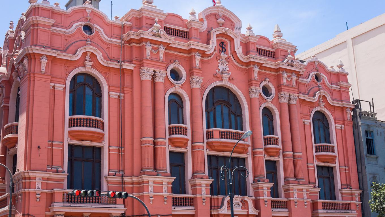Pink building in lima peru.