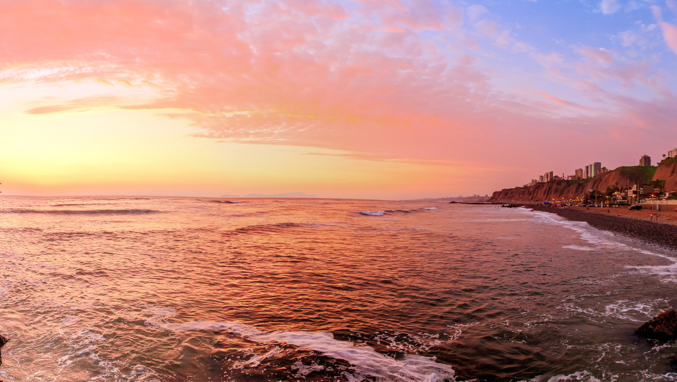 Lima, Peru, panoramic view of Rosa nautica Beach sunset