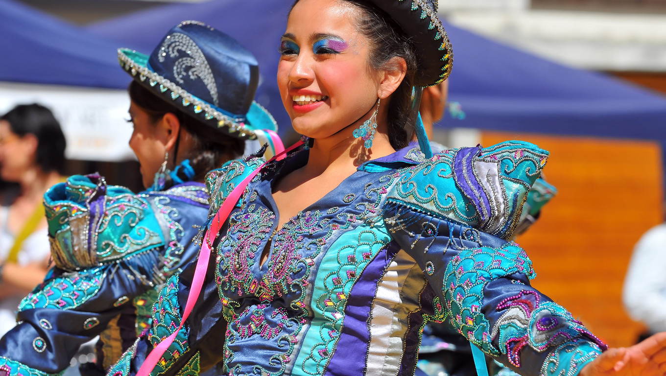 EVOLENE, SWITZERLAND - AUGUST 11: Beautiful peruvian dancing girl in traditional costume at the International Festival of Folklore and Dance from the mountains (CIME) :  August 11, 2011 in Evolene Switzerland