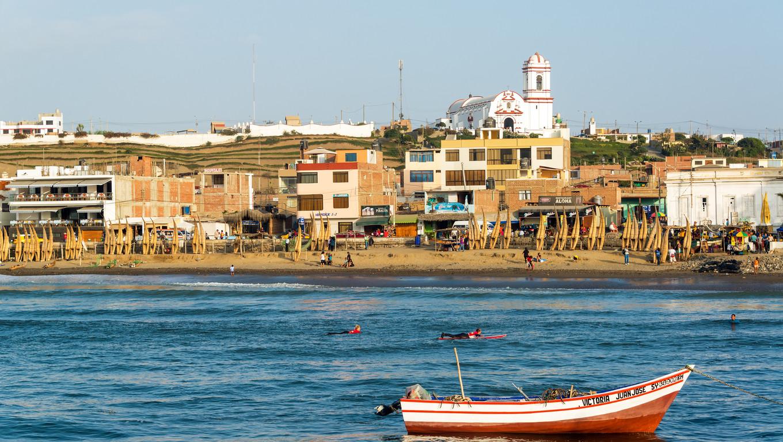 HUANCHACO, PERU - NOVEMBER 20: Harbor and beach of Huanchaco, Peru on November 20, 2014.