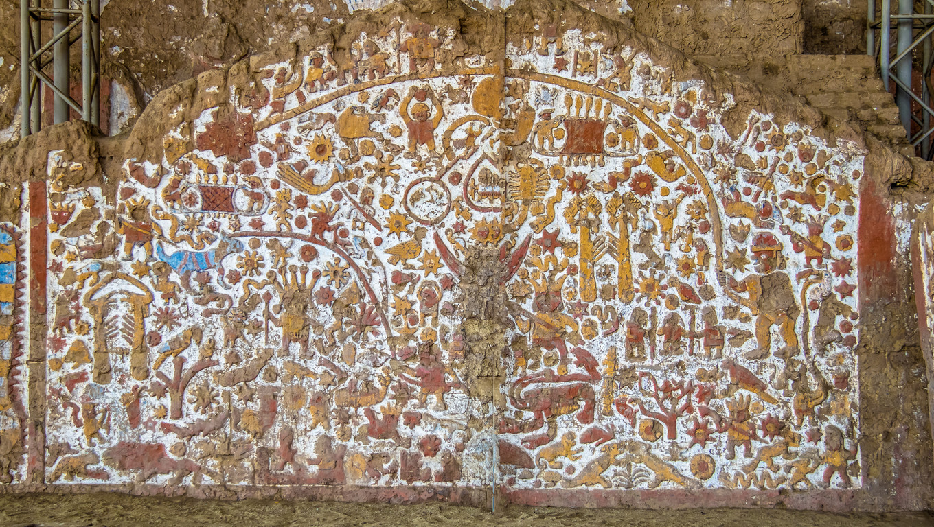 Ancient Mural at Huaca de la Luna archaeological site - Trujillo, Peru