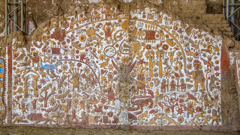 Ancient Mural at Huaca de la Luna archaeological site - Trujillo, Peru