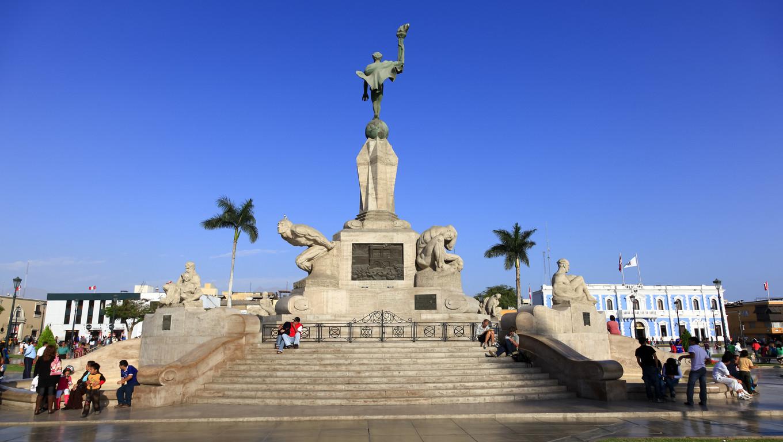 TRUJILLO, PERU - AUGUST 3: Principal monumente in the Plaza de Armas in Trujillo at sunset in august 3, 2012 in Trujillo, Peru.