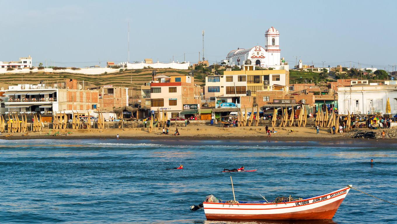 HUANCHACO, PERU - NOVEMBER 20: Harbor and beach of Huanchaco, Peru on November 20, 2014.