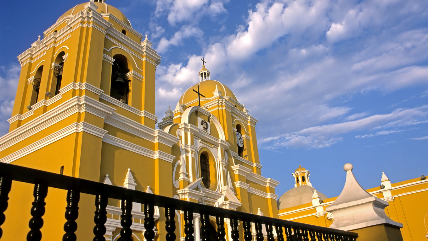 This image shows a Spanish colonial church in Trujillo, Peru