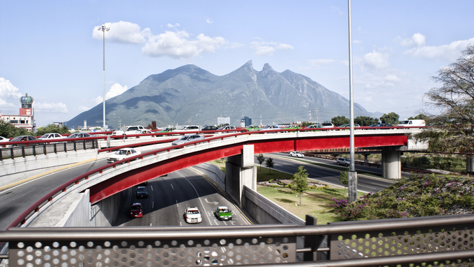 "Photograph of the city of Monterrey Mexico and its characteristic ""Cerro de la Silla"" mountain"