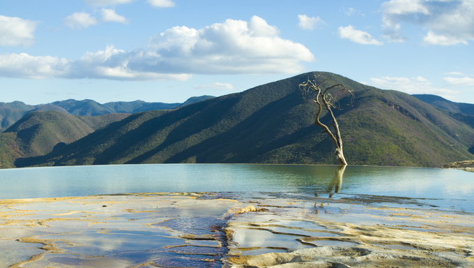 the unique and beautiful landscape of hierve el agua in oaxaca state, mexico