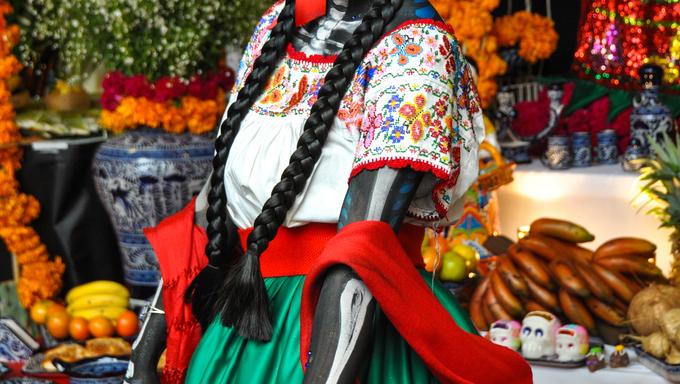 Woman disguised for Dia de los Muertos, Puebla, Mexico.