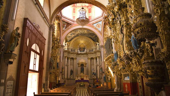 Santa Clara Church and Convent, Ornate Baroque Interior, Golden Altar, Dome, Queretaro, MexicoResubmit--In response to comments from reviewer have further processed image to reduce noise and sharpen focus.