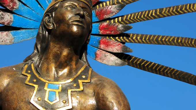 Statue of dancing indian in the colonial city of Queretaro, Mexico.
