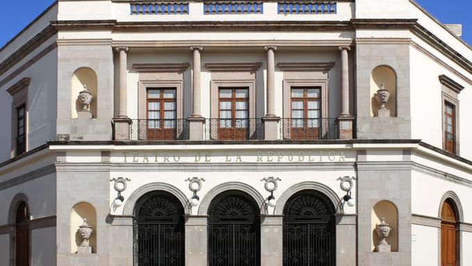 The historic Teatro de la Republica (Theater of the Republic) in the Mexican city of Santiago de Quertaro.