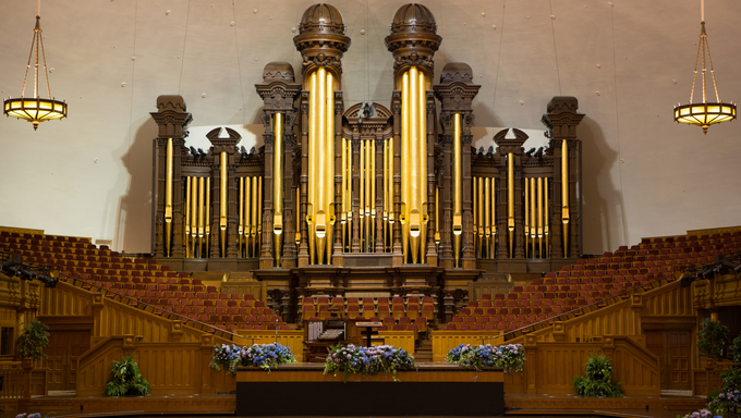 Church organ pipes and the Interior of the Mormon Tabernacle Temple Square, Salt Lake City, Utah
