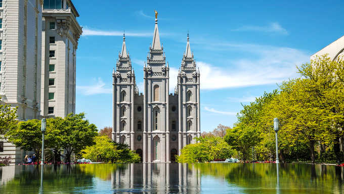 Mormons Temple in Salt Lake City, UT on a sunny day