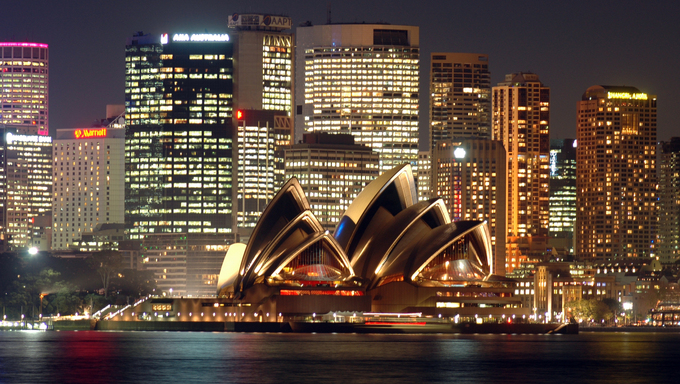 View of the Sydney Opera House and Skyline at night.